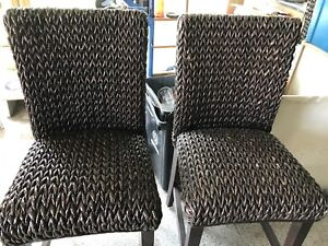 3 wicker and wood Bar stools/chairs