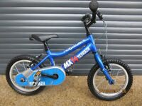 CHILDS RIDGEBACK MX14 STARTER BIKE IN EXCELLENT LITTLE USED CONDITION, WITH STABILISERS, AGE 3 / 4+.