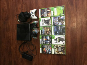 Xbox 360 with headset and games.