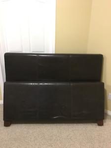 Dark Brown Leather Headboard + Matching Footboard (Queen)