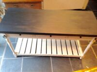 REDUCED! SOLID WOOD FREE STANDING KITCHEN ISLAND, COUNTER/BAR WITH LARGE SHELF AND 6 DRAWERS
