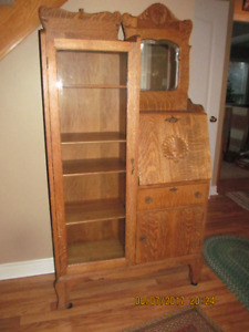 Antique Oak Side by Side with Mirror