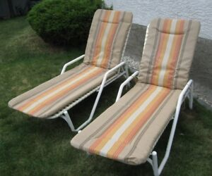 Two patio loungers