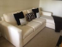 BEAAUTIFUL 4 SEATER SOFA AND 4 SEATER CHAISE IN WHITE SUEDE