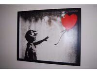 """Large Framed Banksy 'Girl With a Balloon' Print (42"""" x 34.5"""")"""
