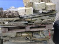 Assortment of stone, slate and granite quoins