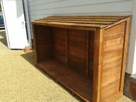 180CM X 130CM X 60CM WIDE LOG STORE/SHED SOLIDLY CONSTRUCTED FROM TREATED TIMBER