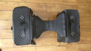 Black Leather Motorcycle Side Bags