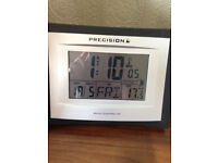 Precision Radio Controlled LCD table top/wall clock with alarm clock and calendar, indoor temp