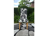 1 x New Black and White Floral Patterned Fabric Material and Oak Dining Chair.
