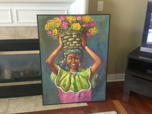 """Painting by Dominican Republic Artist """"The Lady"""" hand painted"""
