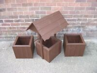 NEW HANDMADE WOODEN PLANTERS AND WISHING WELL GROUP.