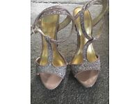 Bridal/prom/going out silver glitter heels size 5