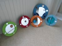 5 round mirrors for child's bedroom - space themed - hand painted