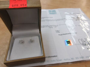**2,075.00 VALUE** Beautiful 14k White Gold Diamond Earrings