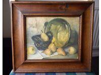 """x2 Vintage, Solid Oak, 3"""" Deep Wood Framed Picture Prints. Fruit"""