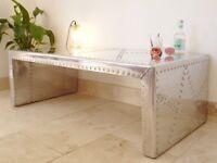 *LIVING ROOM TABLE* - INDUSTRIAL MODERN METAL RIVET SIDE CENTRE COFFEE SILVER