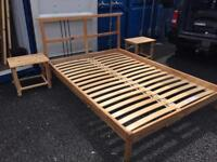 Pine double bed with bedside tables