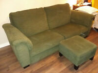 TIDAFORS IKEA three seat sofa with footstool, dark green, excelent cond.