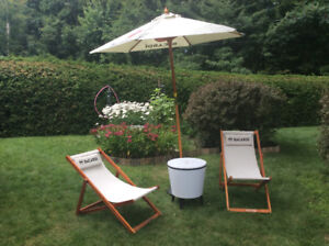 Ensemble chaise ,parasol et table BACARDI