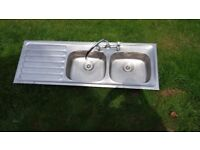 Double bowl stainless steel sink with mixer tap