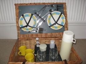 Picnic Basket - wicker with plates etc