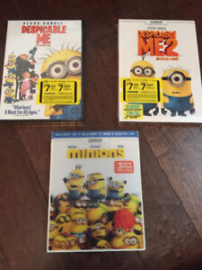 Despicable Me 1, 2 and Minions The Movie (DVD and Blu-Ray)