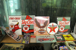 TEXACO PORCELIN SIGNS AND DIE CAST MODELS