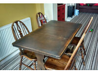 Ercol retro extending dining table and four fiddle back chairs. Ideal for Shabby chic