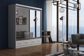 AMAZING OFFER! WOW Brand New MARGO Full Mirror 2 Door Sliding Wardrobe in Black Walnut White