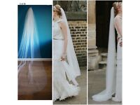 Wedding Veil £15 - Cathedral length (230cm) off white, cut edge