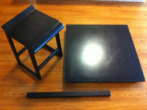 Dark brown wooden set (Table and 4 stools )