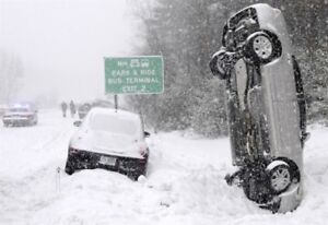 """Don't end up like this - 18"""" Alum Wheels w/Snow Tires"""