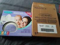 NEW Lansinoh single breast pump, bottles, cooling packs and nipple cream