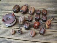 16 Vintage Wood Block Pulleys + Wooden Fishing Reel