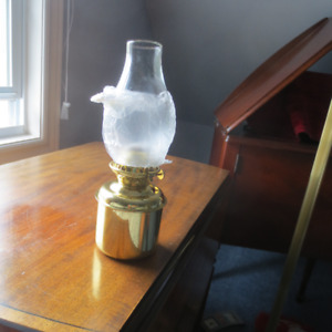 Brass Gimbal Lamp with Smoke Bell