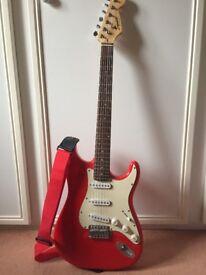 Squier Strat by Fender, Red