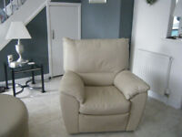 CREAM LEATHER CORNER UNIT WITH HALF MOON STOOL AND RECLINER CHAIR