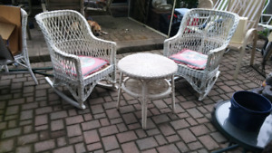 Wicker rocking chairs and table