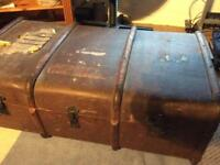1900s leather and wood travel trunk