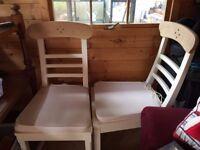 2 sturdy dining chairs modern cream oak