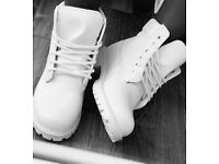 White genuine leather timberlands