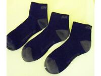 Mens On One Sports Running Cushioned Ankle Socks. Black with Grey. 3 Pairs. Size 3-9