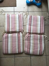 Set of 4 seat pad cushions pink nude neutral stripes