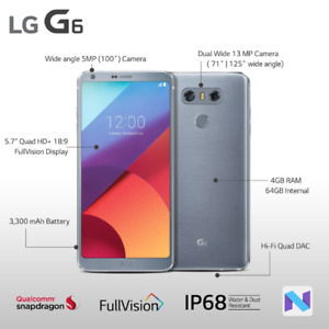 Brand New In The Box LG G6 Platinum with Rogers/Fido/Chatr
