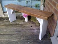 (3)rustic reclaimed garden bench aprox 4ft very heavy- reclaimed wood protected weather proof paint