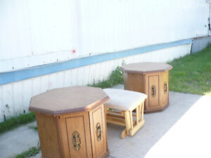 2 end tables and foot stool fs