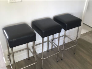 Leather and stainless steel bar stools