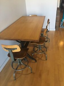 Antique drafting table dining table