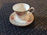 Bone china teacup and saucer